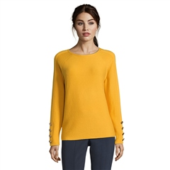 Betty Barclay Button Cuff Round Neck Jumper - Golden Glow