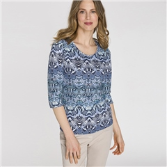 Olsen 100% Cotton Abstract Snake Print T-Shirt - Smokey Blue