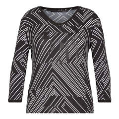 Le Comte Embellished Abstract Stripe Top