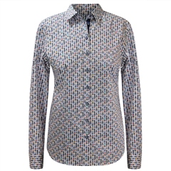 Erfo 100% Cotton Houndstooth Print Blouse