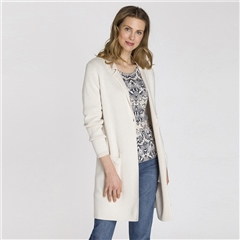 Olsen Cotton Blend Longline Cardigan - Ivory