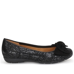 Gabor Snake Print Bow Detail Flat Shoes