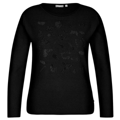 Rabe Embellished Round Neck Jumper - Black