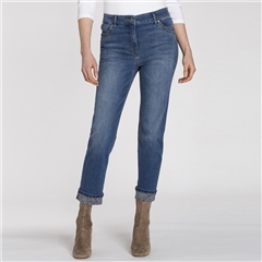 Olsen 'Mona' Snakeprint Turn Up Cropped Jeans
