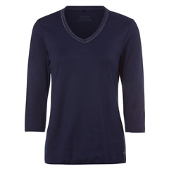 Olsen 100% Cotton Embellished Long Sleeve T-Shirt - Navy