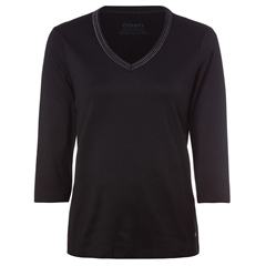Olsen 100% Cotton Embellished Long Sleeve T-Shirt - Black