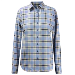 Erfo 100% Cotton Check Blouse - Blue
