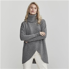 Holebrook 'Wanda' Detachable Roll Neck Wool Blend Jumper - Grey
