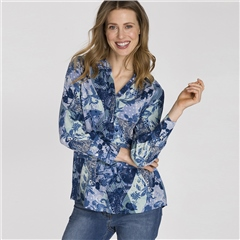Olsen Patchwork Print Blouse - Smokey Blue