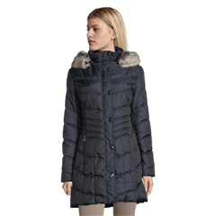 Betty Barclay Faux Fur Trim Padded Coat - Deep Navy