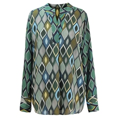 Erfo 100% Viscose Marquise Diamond Print Blouse