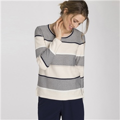Olsen Cotton Blend Wide Stripe Jumper - Ivory