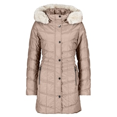 Betty Barclay Faux Fur Trim Padded Coat - Dark Sand