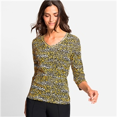 Olsen 100% Cotton Abstract Animal Print V-Neck T-shirt - Mustard
