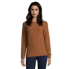 Betty Barclay Button Cuff Round Neck Jumper - Brandy