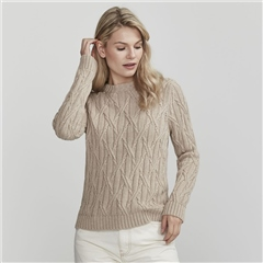 Holebrook 'Bridget' 100% Cotton Cable Knit Jumper - Khaki