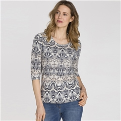 Olsen 100% Cotton Abstract Snake Print T-Shirt - Ivory