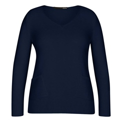 Le Comte Pocket Detail Ribbed Jumper - Night Blue