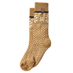 Holebrook 'Fairisle' Patterned Wool Blend Socks - Mustard Off White