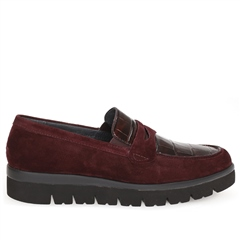Gabor Crocodile Detail Suede Wedge Shoes - Cherry