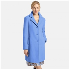 Basler Long Wool Blend Coat - Cornflower