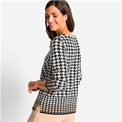 Olsen Cotton Mix Houndstooth Print Jumper