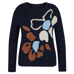 Rabe Chunky Knit Wool Blend Floral Print Jumper