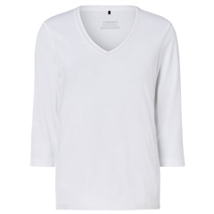 Olsen 100% Cotton Embellished Long Sleeve T-Shirt - White