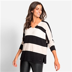 Olsen V-Neck Striped Jumper