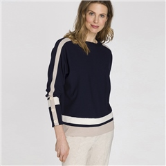 Olsen Contrast Stripe Button Detail Jumper