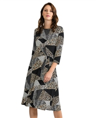 Joseph Ribkoff Mixed Patchwork Print Dress