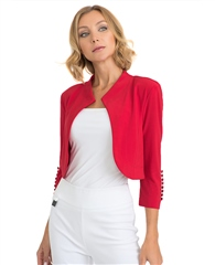 Joseph Ribkoff Button Detail Bolero Jacket - Lipstick Red