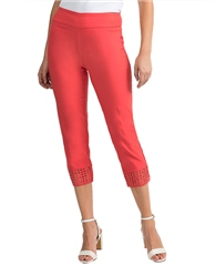 Joseph Ribkoff Mesh Detail Cropped Trousers - Papaya