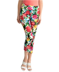 Joseph Ribkoff Vibrant Floral Print Cropped Trousers