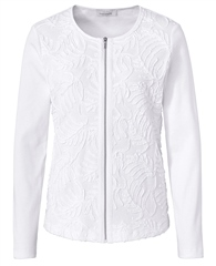 Just White Embroidered Jersey Jacket