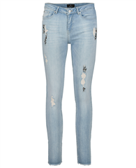Monari Bejewelled Details Cropped Cotton Jeans