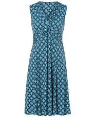 Olsen Tile Print Ruched Dress