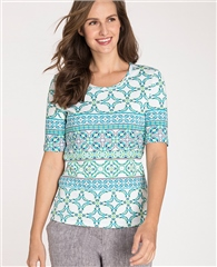 Olsen 100% Cotton Tile Print T-Shirt
