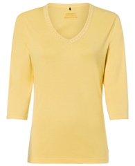 Olsen Embellished V-Neck Cotton T-Shirt - Yellow