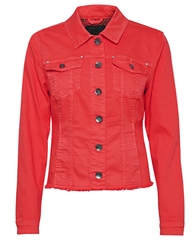Pulz Cotton Denim Look Jacket - Tomato Puree