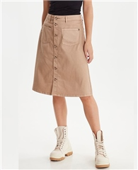 Pulz 'PzDitte' Cotton Blend Button Through A-Line Skirt - Tannin