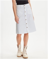 Pulz 'PzDitte' Cotton Blend Button Through A-Line Skirt - White