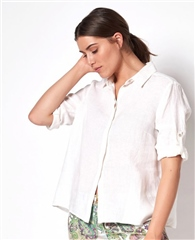 Toni 'Clay' 100% Linen Blouse - White