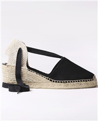 Toni Pons 'Valencia' Lace-Up Canvas Mid-Wedge Espadrilles - Black