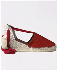 Toni Pons 'Valencia' Lace-Up Canvas Mid-Wedge Espadrilles - Red