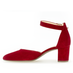 Gabor Ankle Strap Block Heeled Shoes - Ruby