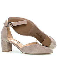 Gabor Ankle Strap Block Heeled Shoes - Mink
