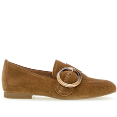 Gabor Buckle Detail Loafers - Cognac
