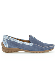 Gabor Contrast Snakeprint Detail Suede Loafers