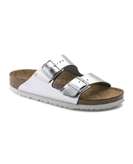 Birkenstock 'Arizona' Metallic Sandals - Silver